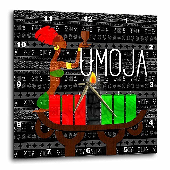Doreen Erhardt Kwanzaa - Umoja Day 1 of Kwanzaa Unity Cup with Kinara Candles December 26th - 13x13 Wall Clock (dpp_244703_2)