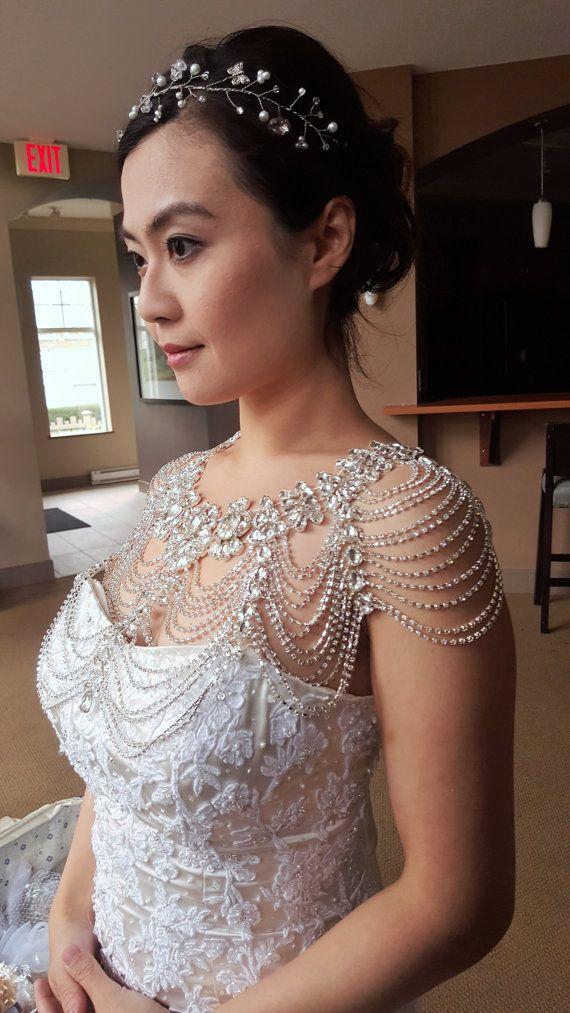 Free Shipping Silver Tone Shiny Crystal Rhinestone Shoulder Chain Epaulet/Epaulette Strap Epaulet Necklace Jewelry  Bridal Prom Pageant