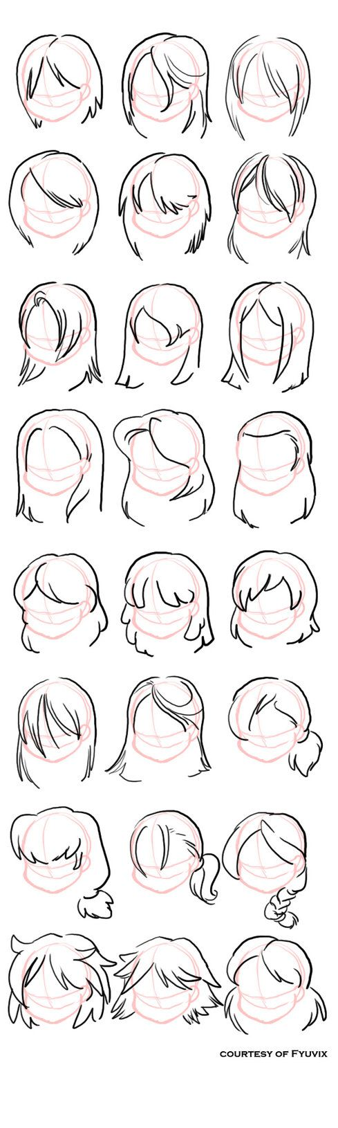 Chart on straight hairstyle ideas for when creating a female anime/manga character.
