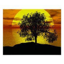 Zen #Tree Sunset Orange Yellow Ocean Love #Peaceful #Poster
