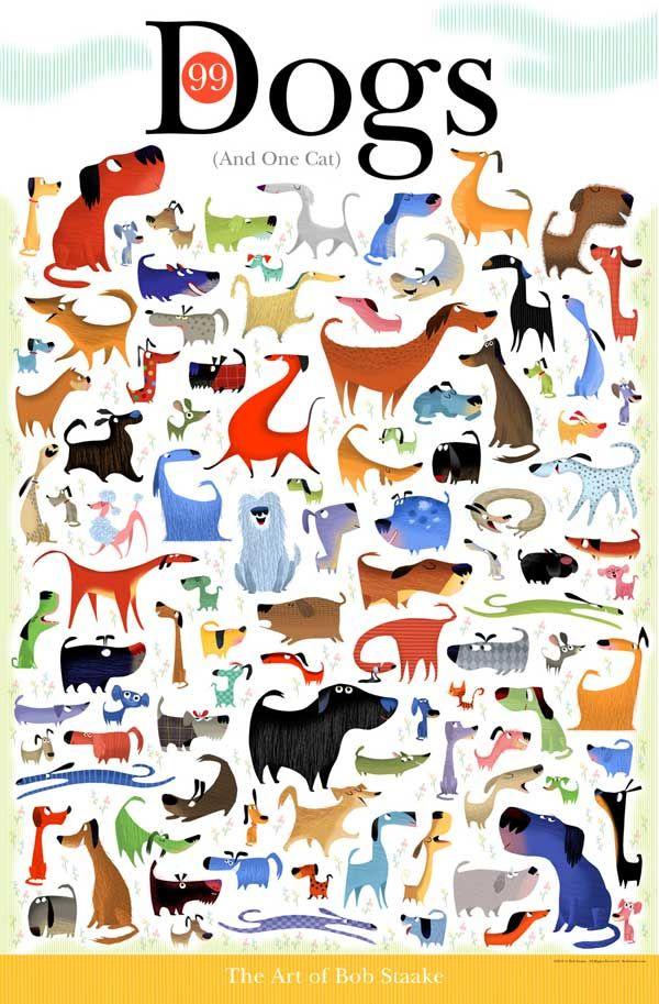 Entre 99 perros 1 gato... y entre 99 gatos 1 perro. Ilustraciones de Bob Staake.