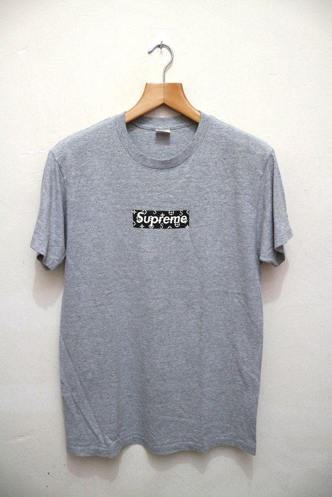 Vintage SUPREME LV Louis Vuiiton Box Logo Paisley Og Nyc New York Swag Gray T…