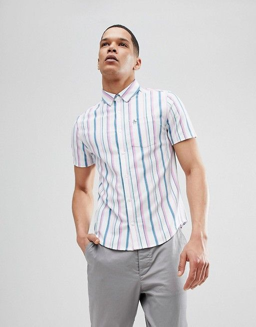 Original Penguin Slim Fit Short Sleeve Waffle Shirt With Button Down Collar in White/Pink Stripe
