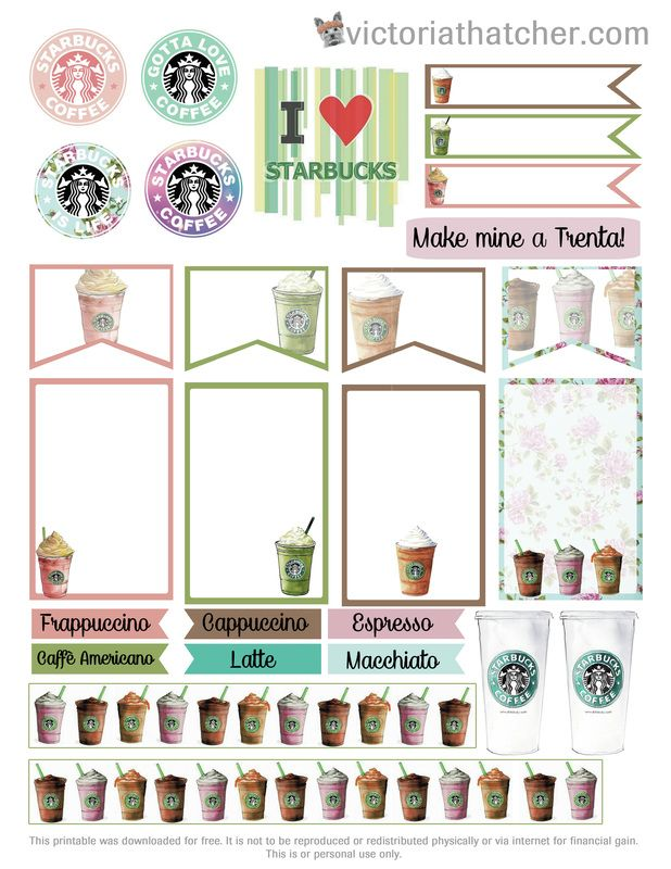 Free Printable Starbucks Planner Stickers  from Victoria Thatcher