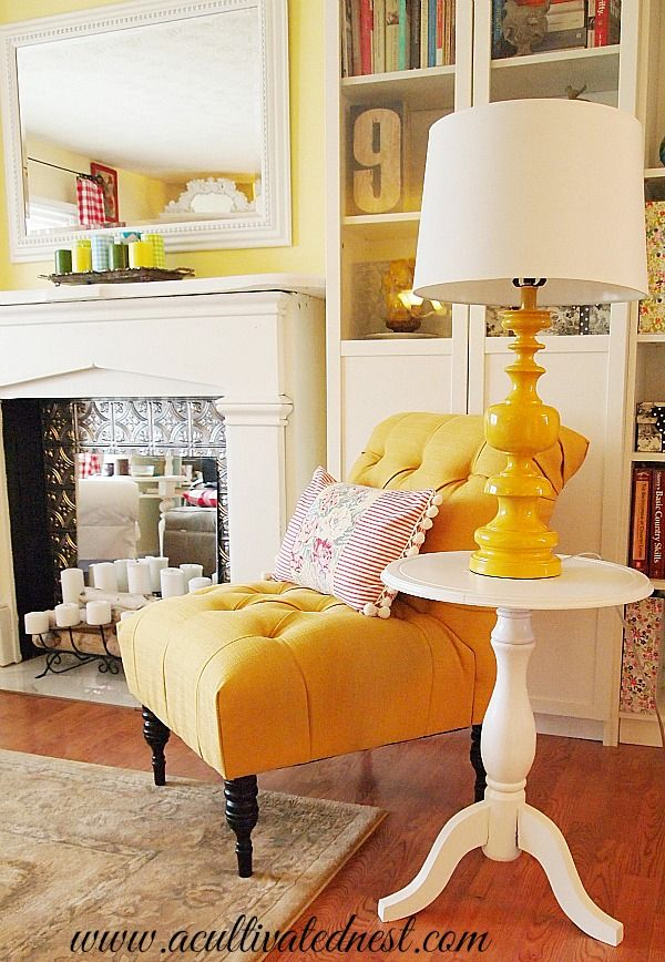 cottage style decor - French yellow tufted accent chair