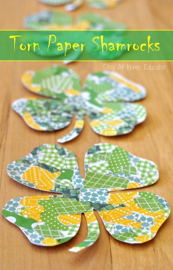 St patricks crafts for preschoolers - Torn Paper Shamrock Craft