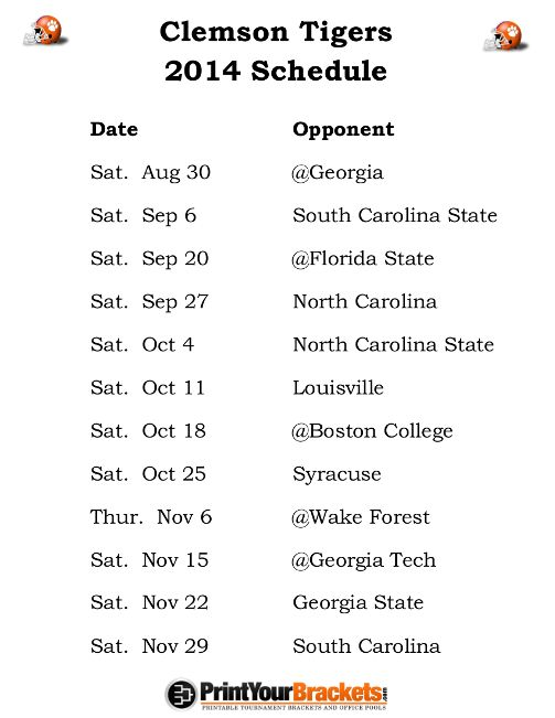 Printable Clemson Tigers Football Schedule 2014