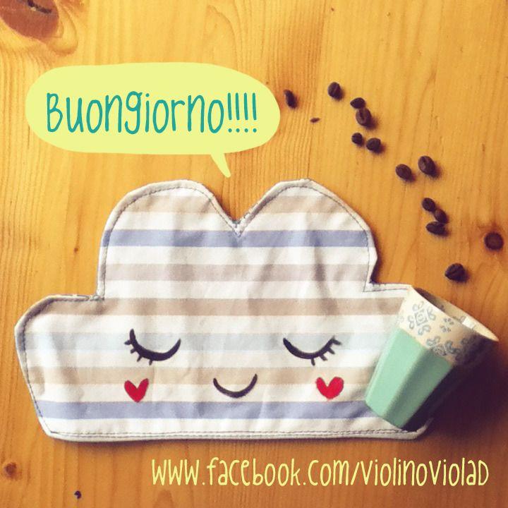 #buongiorno!  Tovaglietta mini nuvola a righette turchesi per prima colazione : Tessili e tappeti di #violinoviola #alittlemarketit www.alittlemarket.it