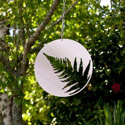 Silver fern hanging steel artwork.  www.lisasarah.com