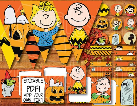 "Printable "" It's the Great Pumpkin, Charlie Brown "" / Peanuts Party Decoration Kit for Snoopy Halloween / Birthday Instant Digital Download"