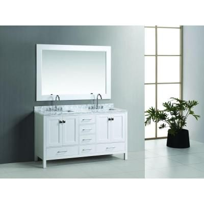 Design Element London 60 In W X 22 In D Double Vanity In White With Marble Vanity Top And