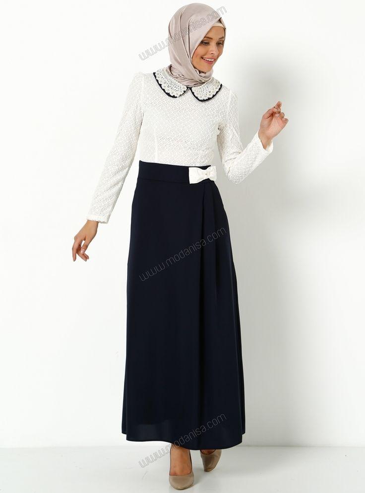 Yakası İnci Baskılı Beli Fiyonk Detaylı Elbise 2212 - Lacivert - Milaj