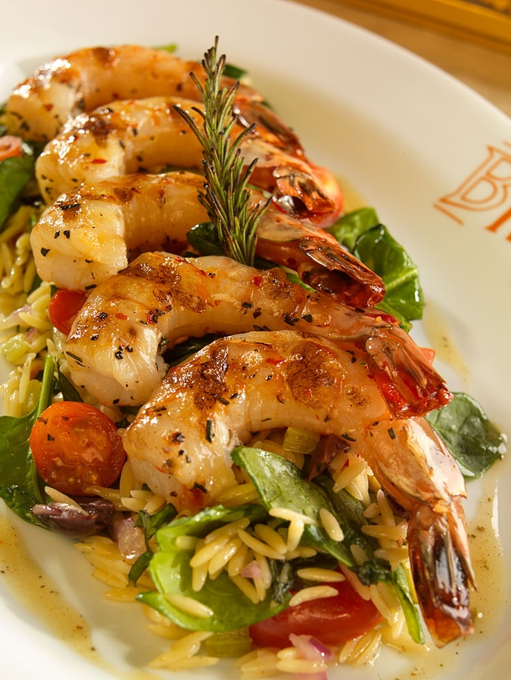 Rosemary Grilled Shrimp Jumbo Shrimp Marinated In Rosemary And Garlic Served Atop A Warm Orzo