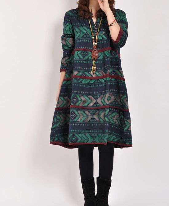 Dark green cotton dress long sleeve dress by originalstyleshop, $62.00