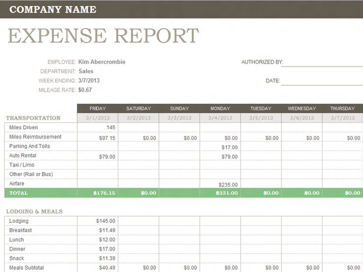 generic expense report