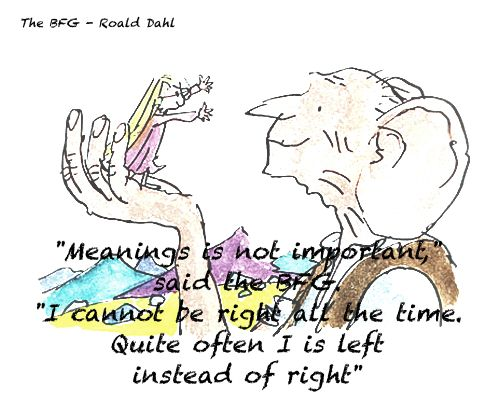 Quote and colour illustration, The BFG by Roald Dahl