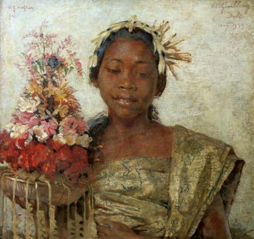 Balinese girl with offering, Willem Gerard Hofker
