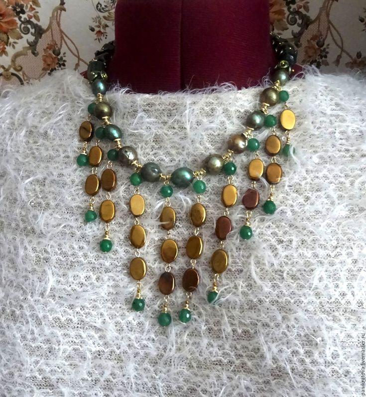 """Купить Колье """"Царица Савская"""" (жемчуг, нефрит, гематит, кварц) - тёмно-зелёный, темное золото"""