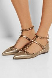 ValentinoRockstud metallic textured-leather point-toe flats