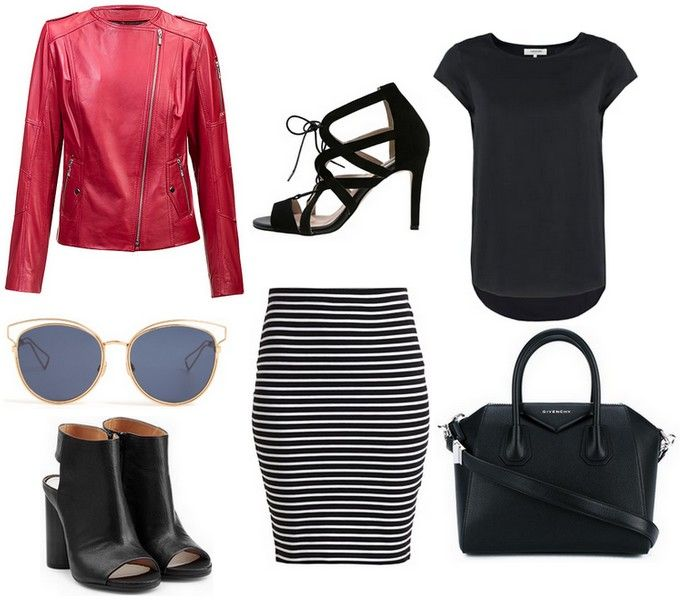 leather jacket - Carl Verssen, high heels, skirt tube strips, black blouse, sunglasses, black handbag