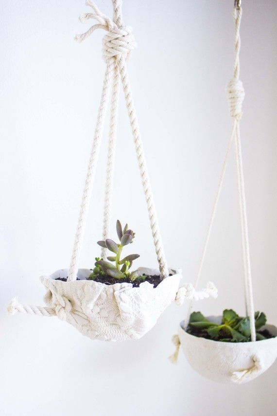 diy oven baked clay hanging planters - perfect for succulents!