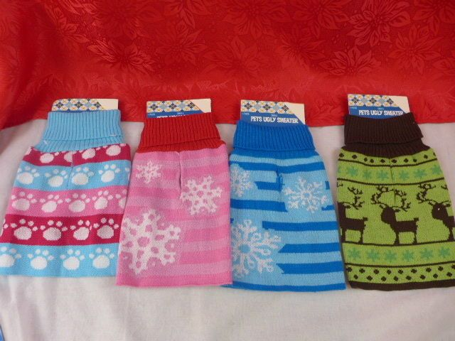 Dog or Cat Ugly Pet Sweater Paws Snowflake Reindeer Pink Blue Green Sm Or Med #DoubleNiceCoLTD
