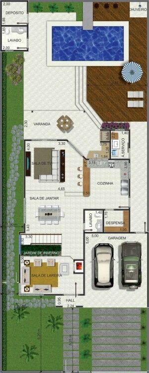 Pinterest: @claudiagabg | Casa 2 pisos 4 cuartos piscina / planta 1