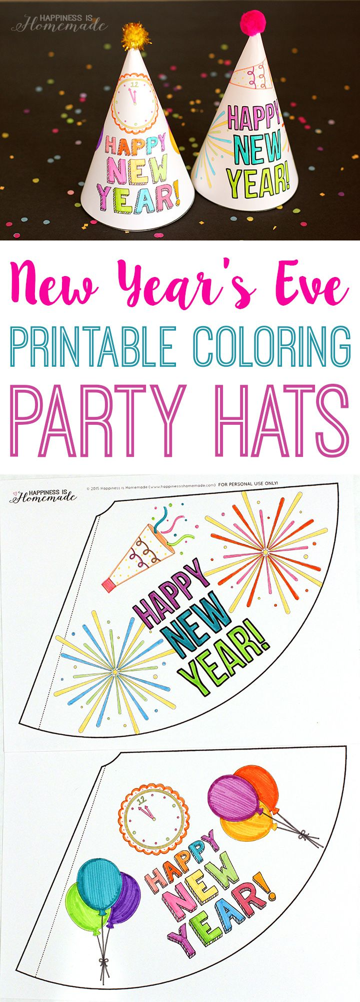 Printable Coloring Party Hats + 10 New Year's Eve Activities for Kids - ad Happiness is Homemade #HorizonHolidays