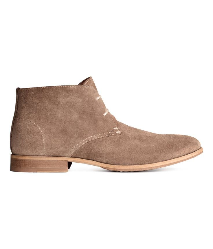 H&M Suede Desert Boots in Dark beige $79.99. PREMIUM QUALITY. Suede desert boots with lacing at front. Cotton twill lining, leather insoles, and rubber soles. Heel height 1 in.