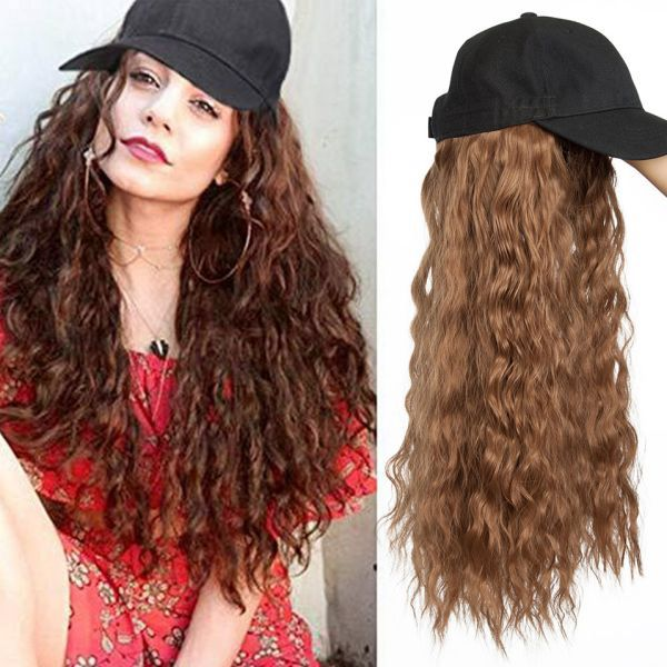10 84us 28 Off Snoilite Long Wavy Baseball Cap With Hair Extension Synthetic Hair Integrate Cap Hat For Women Girl Daily Hair Style Wig Synthetic Clip In One Hair Styles Hair Pieces Cool Braid