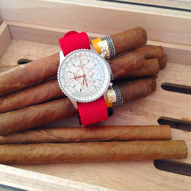 Red Perlon Strap on Breitling Navitimer from our friend Tiago in Spain!