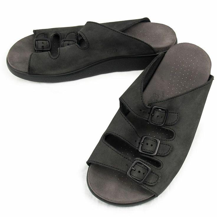 Sas Tripad Sandals Shoes 3 Strap Size 9 Wide Comfort Trio Black Suede Slides Sas Vintage