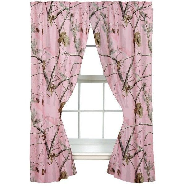 Realtree AP Pink Rod Pocket Drape, 2 Panels, 2 Tie-backs, 63 Inch ($35) ❤ liked on Polyvore featuring home, home decor, window treatments, curtains, pink curtains, pink curtain tie backs, pink home decor, rod pocket draperies and pink window treatments