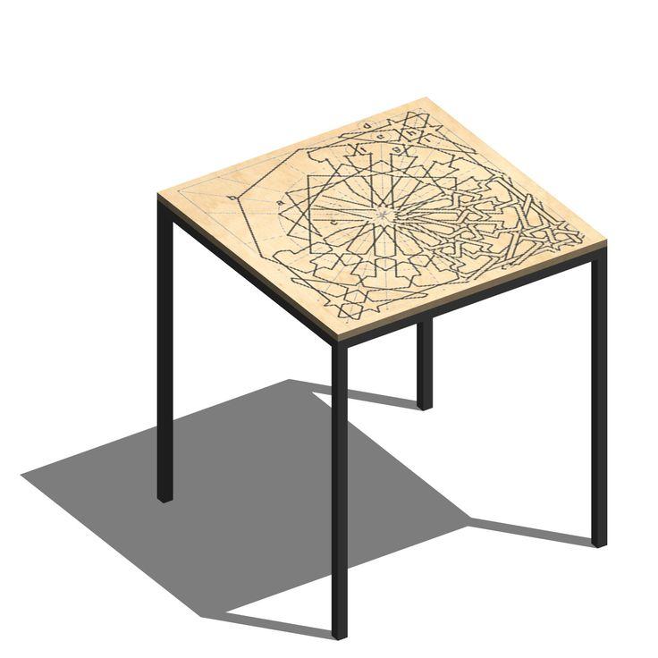 Impressie tafel idee. Analyse Arabisch patroon geprint op tafelblad.