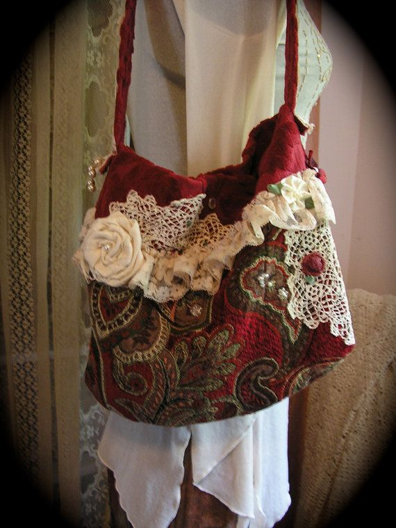 Handmade Red Tapestry bag, soft velvet chenille fabric..Love it minus the flower and ruffle and doilie