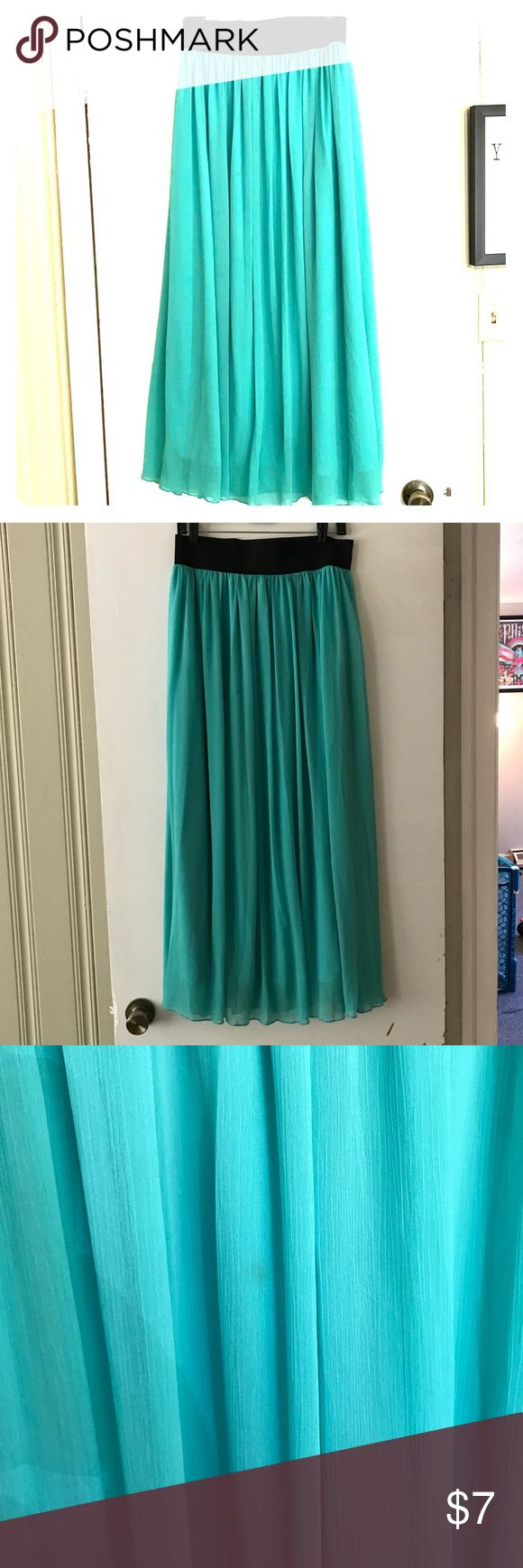 Gypsy maxi skirt Embrace your inner mermaid! Size XL from rue 21. Flowy and soft. Color is a sea foam/turquoise. There is a small stain shown in the picture. Rue21 Skirts Maxi