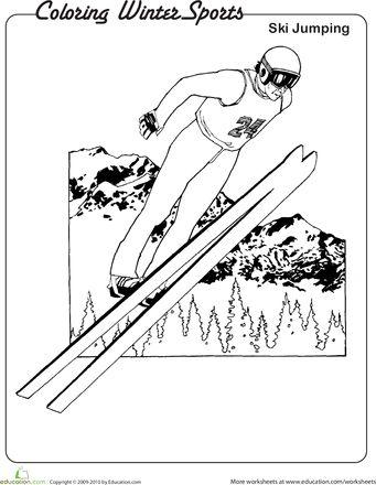 Worksheets: Ski Jumping Coloring Page