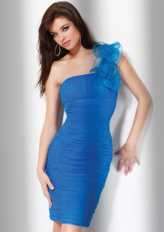 Modest Blue Sheath Knee Length Chiffon Strapless Dress With Fl