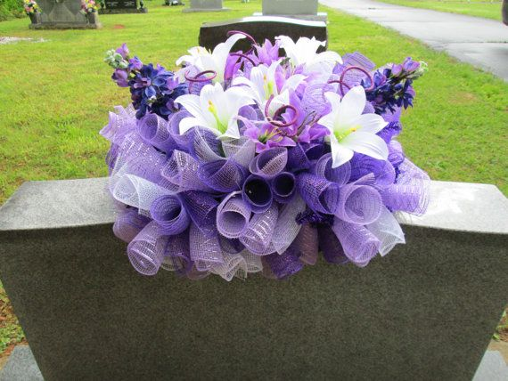 Headstone saddle, Grave decoration, Gravestone saddle, Deco mesh flower arrangement, Tombstone arrangement via Etsy