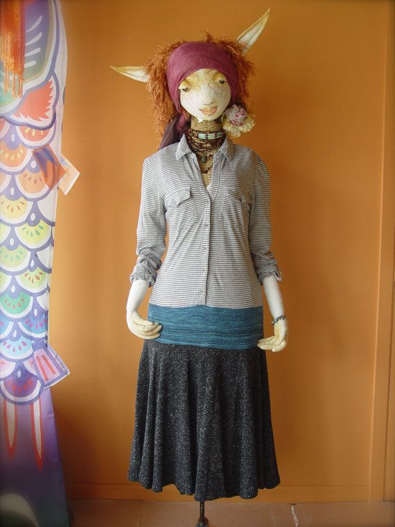 L Boho Upcycled Shirt Dress - recyclées coton robe Eco - Womens Bohême - Gypsy indésirable peuple libre Style - Sz grand