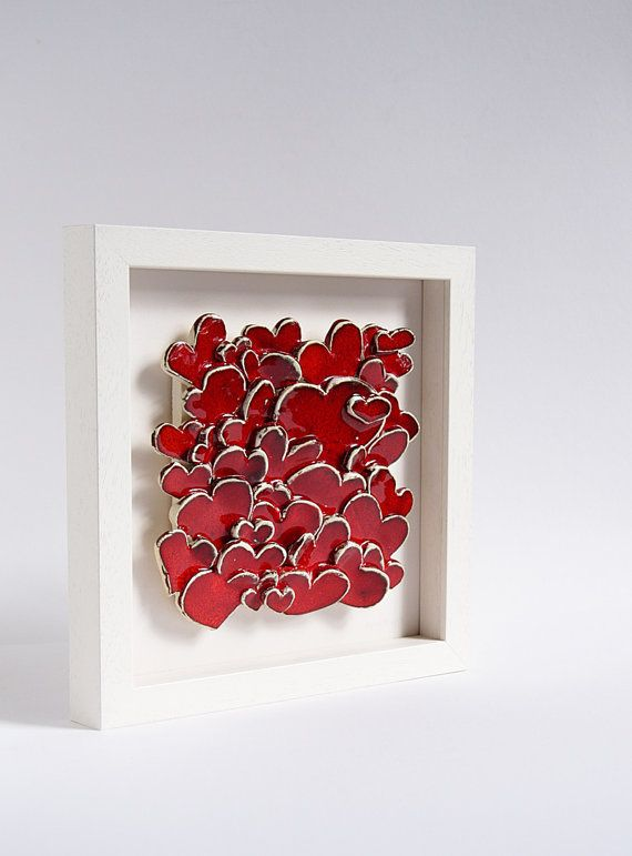 Love Hearts, modern ceramic wall art, sculptural ceramic tile, home decor, engagement, wedding, gift for parents. red and white
