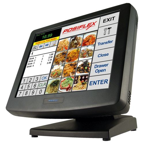 """PC POS Touch System   Resistive or IR touch screen   15"""" LCD 1024 x 768 resolution   Spill-resistant design (IP44 capable) to prevent careless spill and provide easy cleaning for a wide range of applications   Equipped with Intel Sandy Bridge Pentium B950 2.1GHz CPU and"""