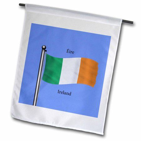 3dRose The flag of Republic of Ireland waving on blue background and Ireland printed in English and Irish., Garden Flag, 12 by 18-Inch