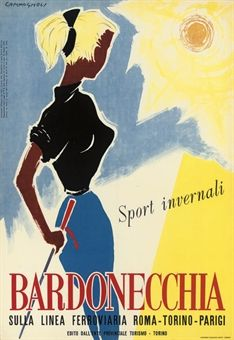 vintage ski poster - BARDONECCHIA by CAMPAGNOLI, 1955