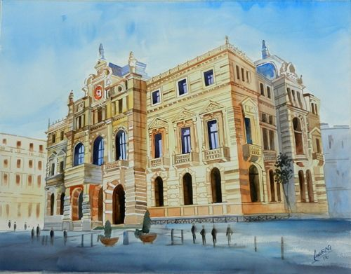 Diputacion Palace, Bilbao, Basque Country Watercolour by Anurag Mehta, Udaipur, India