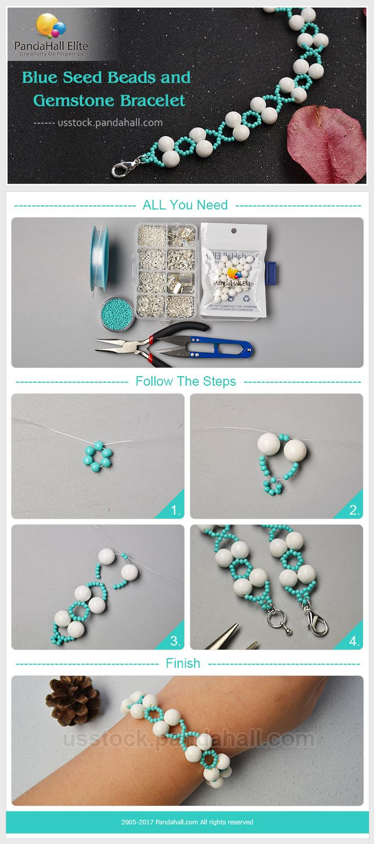PandaHall Elite Craft Ideas: How to make bracelet with seed beads and gemstone beads #pandahallelite #craft #handmadebracelet #braceletdesign #seedbeads #craft