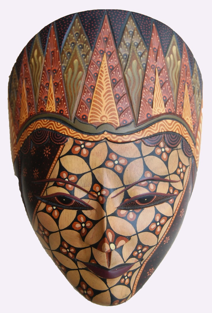 Traditional Handmade Javanese Wooden Mask BAtik Painting Home & Wall Decor $45.50