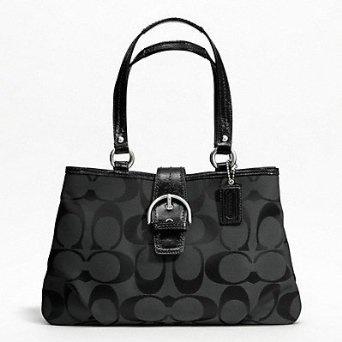 Only 3 left in stock... Coach Soho Signature Carryall Satchel Tote Handbag Purse Black Grey 19253... $250.00