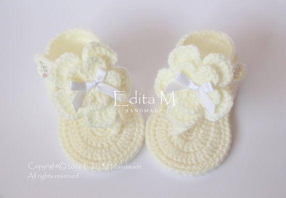 Crochet bambino Sandali neonata sandali di EditaMHANDMADE su Etsy