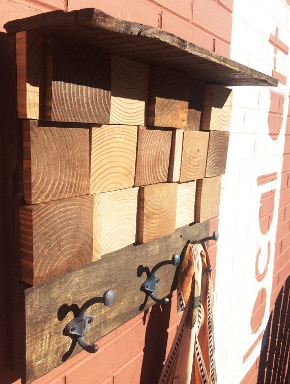 This Large Wooden Squares Natural Coat Rack was made by artisans in our Colorado  Springs studio. Natural Coat RacksReclaimed Wood ... - 17 Best Images About Reclaimed Wood Projects On Pinterest